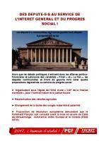 DES DEPUTE-E-S AU SERVICE DE L'INTERET GENERAL ET DU PROGRES SOCIAL !